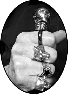 Hand of Wolfman with rings